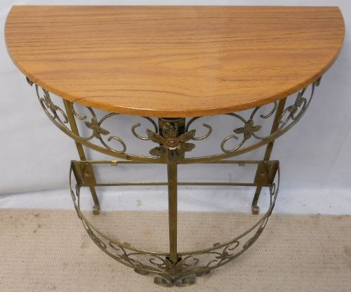 Metal Framed, Wooden Top Console Table